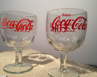 2 Vintage Coca Cola Footed Glass Thumbprint Goblets-COKE and Enjoy Coca Cola