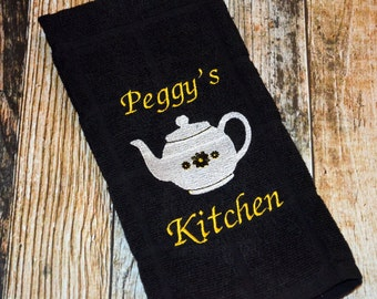 Personalized Kitchen Towel - Teapot Towel - Hostess Gift - Tea Towel - Monogrammed Housewarming Gift