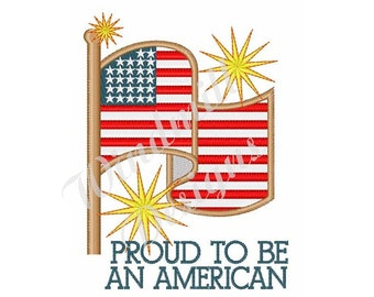 Proud American Flag  - machine embroidery design