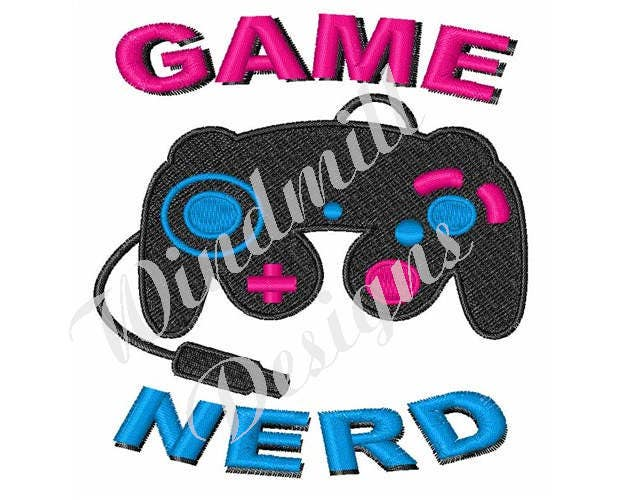 Game controller nerd machine embroidery design from