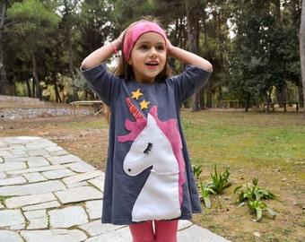 Unicorn dress, unicorn party,magic dress,grey dress,girl's dress,toddler dress,,applique dress,party dress,pretty unicorn