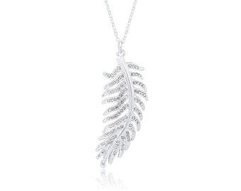 Long Silver Diamante Feather Pendant Necklace NK4002i