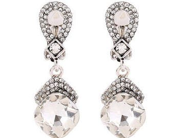 Vintage Style Silver, Pearl & Crystal Drop Earrings  (Clip On)