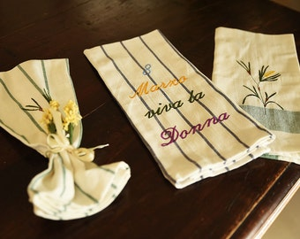 Lint-free cotton cloth with embroidery and mimosa for international women's day