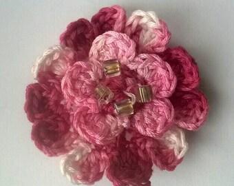 Beaded crocheted flower brooch, handmade