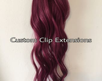 Burgundy  Clip in Hair Extensions, Human Hair Extensions,  BurgundyHair, Clip in Extensions, Hair Extensions, Custom Made
