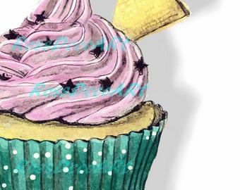 Strawberry cupcake. decorwall . printable sheet.Customizable size