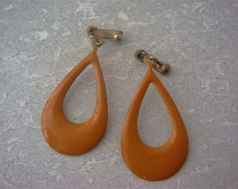 Fun Retro Enamel Earrings, Orange Enamel Earrings,Orange clip on Earrings