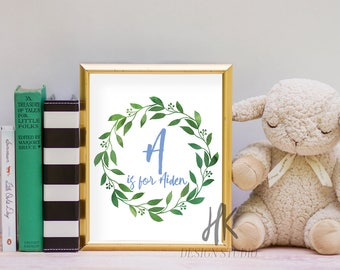 PRINTABLE: 8x10 Custom Nursery Print | Wreath Print | Baby Boy's Room Print | Child's Room Print