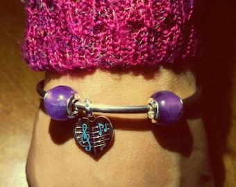 Bangle with Music Charm & Amethyst Beads