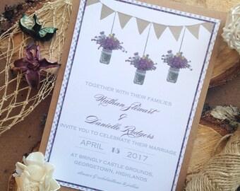 Scottish Wedding Invitation - Purple Heather, Scottish wedding theme, thistles and tartan, shabby chic wedding