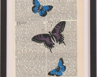 Old dictionary art - butterflies print, dictionary print, dictionary art print, dictionary page Wall Decor, screen print