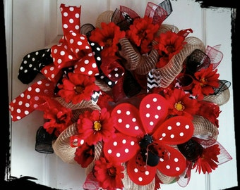 Ladybug Red, Black and white wreath on burlap inspired mesh. Spring/Summer Wreath.