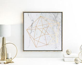Rose Gold Foil Print / Square 20x20cm or 30x30cm / Geometric / Copper Foil / Gold Foil / Marble Print / Wall Art / Foil Print