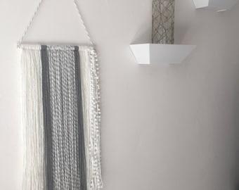 Gray and white pom pom, hanging yarn art/ tapastry.