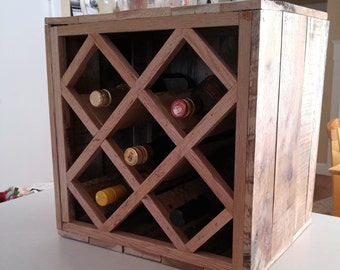 Reclaimed Pallet Wood Wine Rack, Tabletop wine rack, Wine cube, Wine Rack, wine bottle storage, rustic wine rack, wine box, wine lover gift