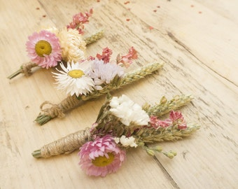 Three Boho Dried Flower Buttonholes