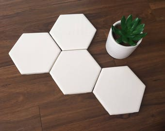 SALE /\ Four White Hexagon Coasters /\ Set of 4 /\ Hexagon Tile  Coasters