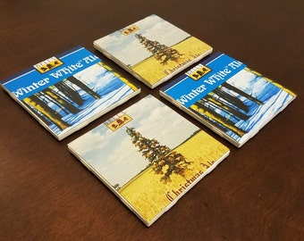 Bell's Brewery Winter Themed Homemade Ceramic Beer Coasters (Set of 4)