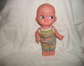 "Vintage Creepy, Cute Bald Baby Doll 9"""