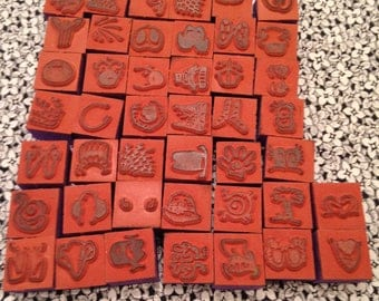 Vintage Small Rubber Stamps with Faces, Cartoons, Child