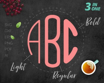 Circle MONOGRAM FONT SVG 3 in 1 Regular, Light and Bold, Rounding svg Monogram initial letters for Silhouette Cricut Heat Press Transfer
