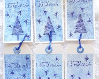 Set of 6 Christmas gift tags - Blue Christmas
