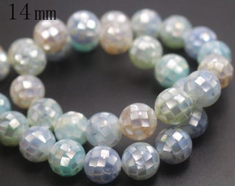 14mm Natural Mixcolor Abalone Mosaic Round Beads