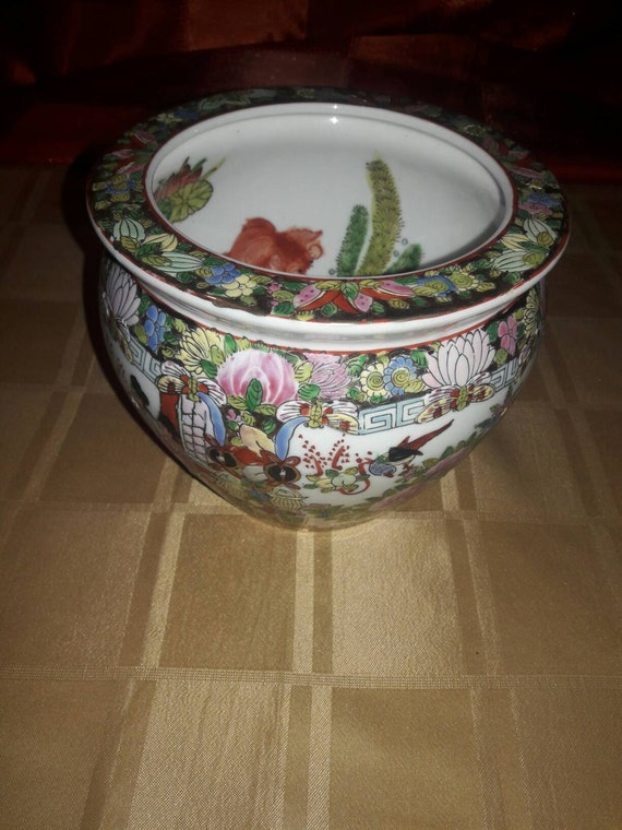 Vintage canton rose rose famille koi fish bowl planter for Koi fish bowl