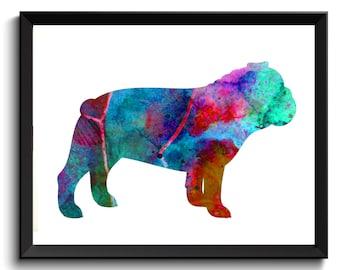 Watercolor Bull Dog, Bulldog Wall Decor, Bull dog Poster, Bulldog Watercolor Art, Bulldog Wall Decor, Printable Bulldog, Bulldog Painting