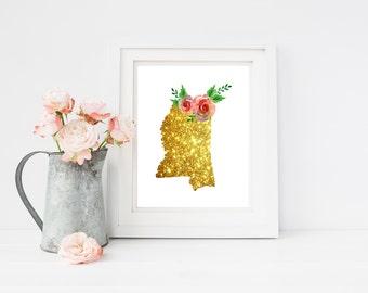 Mississippi gold art, Mississippi state, MS glitter art, MS bling art, 8X10 MS art, ms art print, shabby chic, ms printable, download ms
