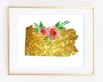 Pennsylvania art, PA state art, PA gold art, gold art gift, gold home decor, gold wall print, gold floral art, PA artwork, pa download