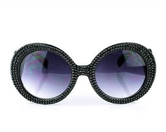 Black Studded Swarovski Crystal Prada Baroque Round Rhinestone Sunglasses