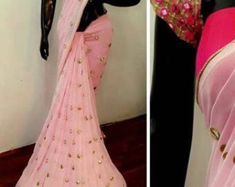 Mirror work saree with ready blouse
