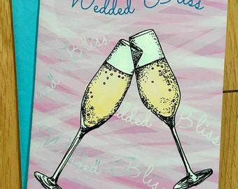 Wedded Bliss, Wedding Card, Champagne Glasses, Congratulations, A Toast to You, Wedding Card