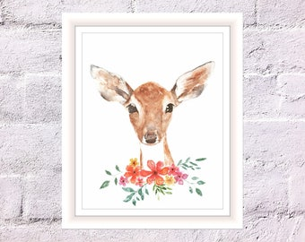 Fawn in Field Print, Watercolor Deer Print, Art for Home, Art for Children, Woodland Animal Print, Fawn Art Print, Cute Fawn with Flowers