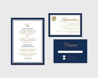 royal wedding invitation navy and gold wedding invite royal blue wedding stationery blue