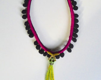 Death By Khukuri- chord Necklace with tassels ans pompoms
