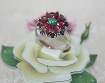 Ruby + sapphire + emerald, ring Sterling Silver 925/1000