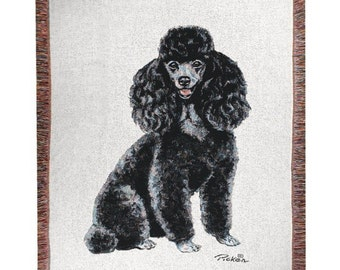 Personalized Black Poodle Dog Throw Blanket
