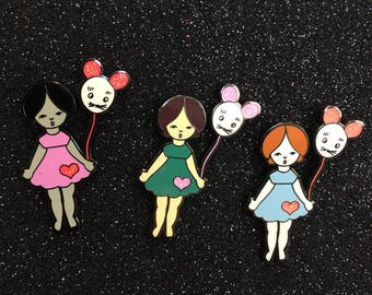 Balloon girl enamel pin