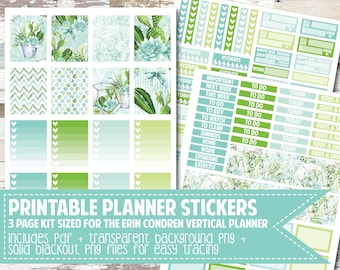 PRINTABLE Planner Stickers/Succulent Weekly Kit/Sized for Erin Condren Vertical Planner