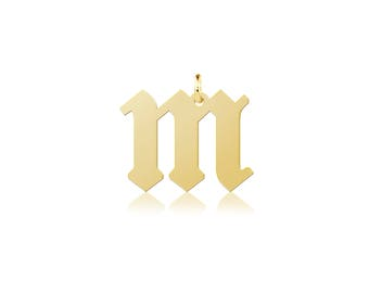 14K Solid Yellow Gold Lowercase Old English Initial Letter Pendant - A-Z Any Alphabet Necklace Charm
