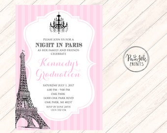 Paris Graduation Invitation, Pink Paris Graduation Invite, Paris Birthday Invitation, A Night in Paris Invitation, Eiffel Tower, Printable