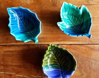 Japanese ceramic leaf shaped bowls
