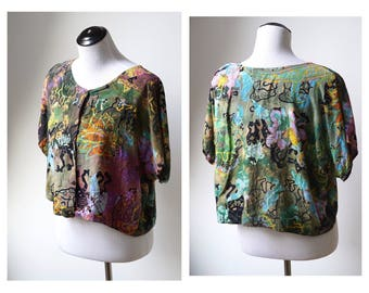 Medium/Large colorful Indian print blouse/ loose festival top/ one size fits most/ lotus flower top/ jam band