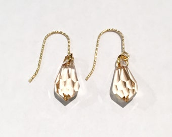Twisted gold plated earrings drops Swarovski faceted gift birthday gift girl special occasion