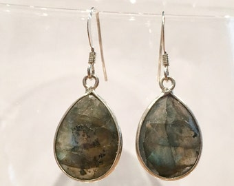 Silver earrings labradorite drop set felle girl chic gift special occasion earrings