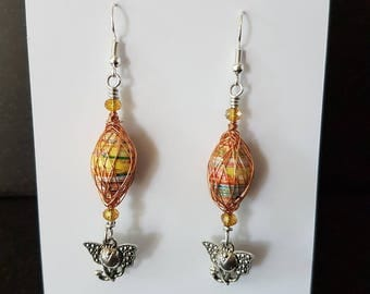 Paper Bead Earrings, Paper Bead Wire Wrapped Earrings, From Trash to Treasure, Recycled, Upcycled, One of a Kind Gift