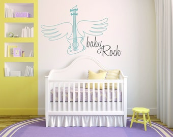 Baby Boy Guitar Room Nursery - Mural Wall Decal Sticker For Home Bedroom (43)